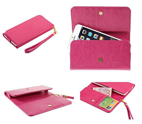 DFV mobile - Cover Premium Crazy Horse PU Leather Wallet Case with Card Slots for => Maxwest Android 4000 > Pink (Maxwest Android-4000)
