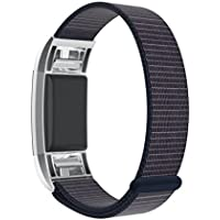 TOPsic Fitbit Charge 2 Strap Nylon Loop Replacement Bracelet Smart Watch Band Sport Wrist Straps with Unique Magnet Lock for Fitbit Charge 2 Heart Rate and Fitness Wristband (Large Size)