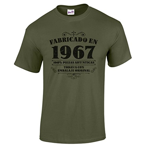 Camiseta de hombre para regalo de 50 cumpleaños Manufactured 1967 en verde militar talla L