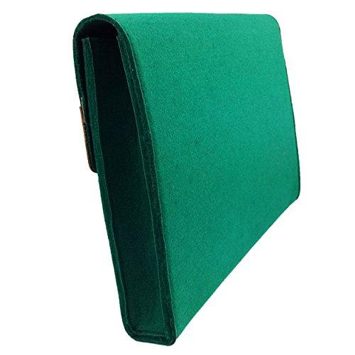 Venetto DIN A4 Business Aktentasche Arbeitstasche Herren Damen Unisex Filztasche Tasche aus Filz mit Echtleder-Applikationen (Grau) Grün dunkel