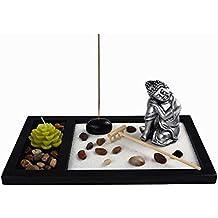 OM HOME Jardin Zen Figura Buda Durmiendo con una Vela en Bandeja,con portaincienso,