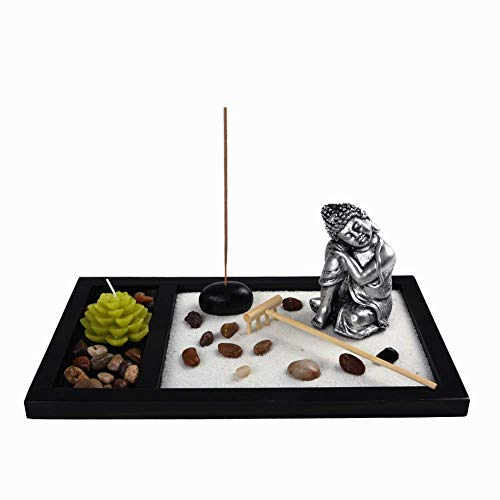 OM HOME Zen Garden Figure Buddha Sleeping with a Candle in Tray, with incense holder, Rock and Sand decoration