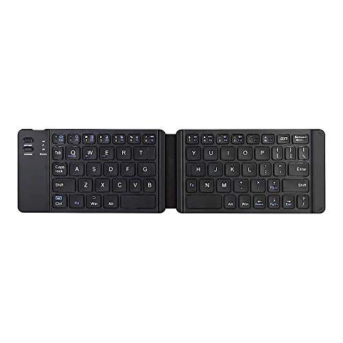 ZUEN Faltbare Bluetooth-Tastatur Bluetooth 3.0, BT Wireless Folding Keyboard für iOS/Android/Windows iPad Tablet Phone,Black (Bluetooth-tastatur Für Windows Phone)