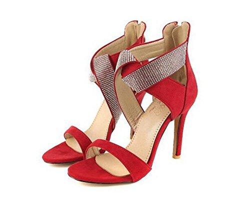 Beauqueen Suede Pumps X-Straps Open-Toe Stiletto Tacco Alto Sposa Partito Femminile Zipper Sandali Dimensione 34-43 personalizzato Red