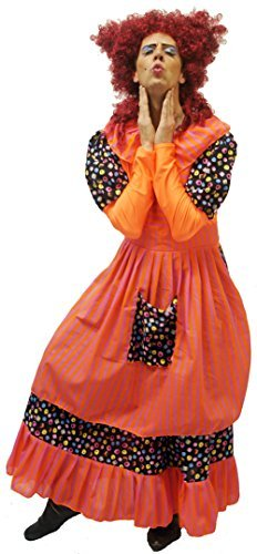 Pantomime-hässlich Schwester ORANGE Pantomime DAME Ganzkörper-kostüm Mit Schürze - Von Teen Größe bis L Erwachsene - Orange, Men: Medium