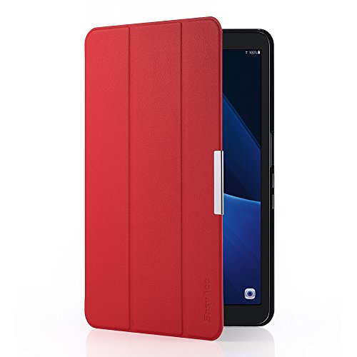 EasyAcc Ultra Dünn Hülle kompatibel für Samsaung Galaxy Tab A 10.1, mit Standfunktion und Auto Sleep/Wake Up Funktion Slim Leder Case Perfekt kompatibel für Galaxy Tab A 10.1 Zoll T580/ T585, Rot