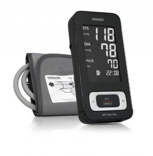 Omron MIT Elite Plus Misuratore di Pressione da Braccio Digitale, Sensore di Irregolarità Battito Cardiaco, Schermo Grande, Facile da Usare, Collegabile al PC con USB