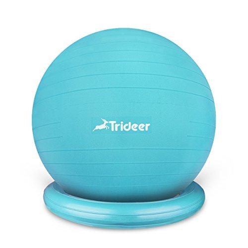 Trideer Anti-Burst Gymnastikball von 65cm 75cm mit Ballschale(Aufblasbaren Ring) oder Widerstandsbänder inkl Ballpumpe, Sitzball als Fitness Kleingeräte und Balance Stuhl im Gym-Home-Büro