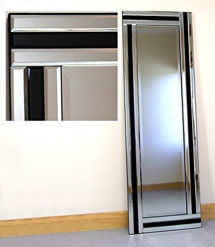 Barcelona Trading Fiona Silver & - Espejo de Pared con Marco de Cristal Negro de Longitud Completa Biselado, 121,9 x 40,6 cm, Grande