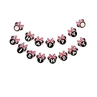 Kids Birthday Party Decoration For Girls,Minnie Mouse Inspired Happy Birthday Banner Pink