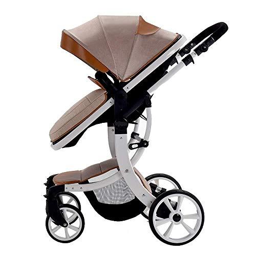 TZZ 2 in 1 Kinderwagen One-Hand Compact Falten Luxus Pram Säuglingskinderwagen for Neugeborene und Kleinkind (Farbe : Khaki)