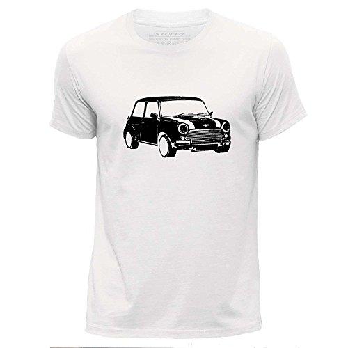 STUFF4 Herren/X groß (XL)/Weiß/Rundhals T-Shirt/Schablone Auto-Kunst / Mini (T-shirt Austin Weißes)