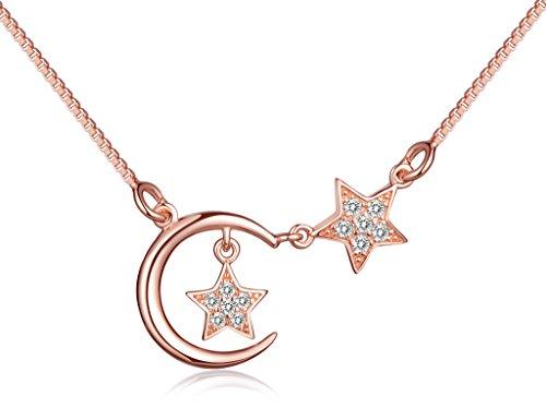 Unendlich U Modisch Sterne Mond Damen Halskette 925 Sterling Silber Zirkonia Anhänger Kettenanhänger Verstellbare Kette, Rosegold