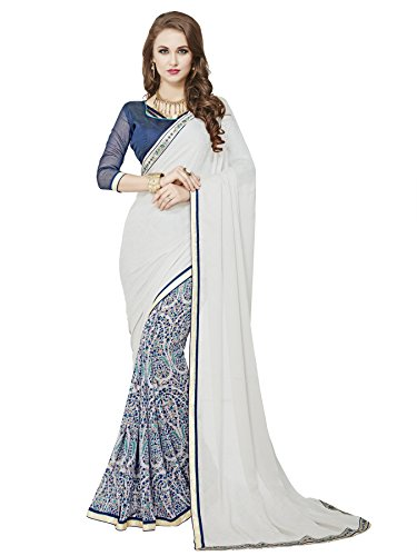 saree center Georgette Saree With Blouse Piece (_Grey_Free Size)