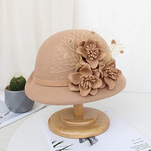 capswhh Europa Und Die Vereinigten Staaten Herbst Und Winter Wolle Wollmützen Mode Mesh Garn Blume Curling Becken Hut Damen Hut @ Camel_M (56-58Cm) -