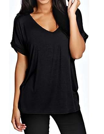 womens oversized fit loose baggy short sleeve v neck. Black Bedroom Furniture Sets. Home Design Ideas