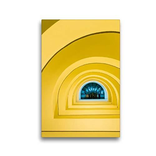 Calvendo Premium Textil-Leinwand 30 cm x 45 cm hoch, Wendeltreppe | Wandbild, Bild auf Keilrahmen, Fertigbild auf echter Leinwand, Leinwanddruck: Abstrakte Architektur Orte Orte