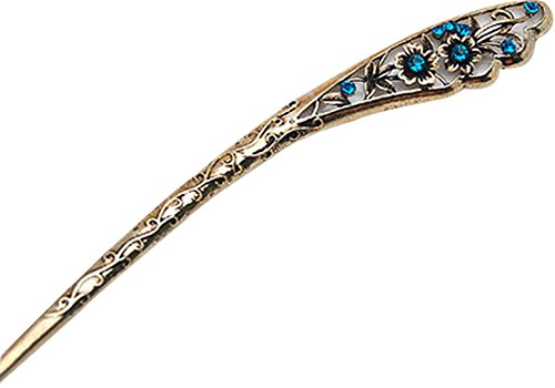 Rétro bâton épingle Ornements cheveux Barrette Chapeaux bleu paon