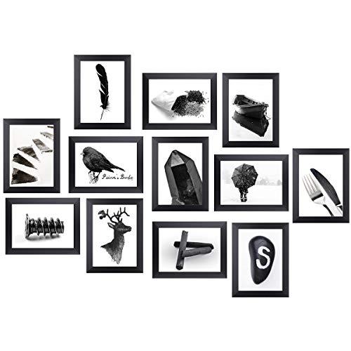 Homemaxs 12er Bilderrahmen Set 13x18, Collage Bilderrahmen Moderner MDF-Rahmen mit Acrylglas Fotorahmen Umweltfreundlicher Familienfotorahmen, Wandgalerie-Set für Wand oder Platte (Schwarz) - Bilderrahmen Wand Collage