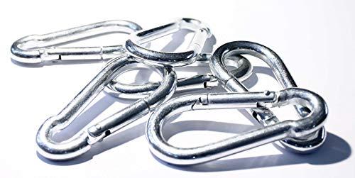 TD-Warenhandel 10 x Karabinerhaken gefederter Verschluss Karabiner 6x60 mm Haken Stahl verzinkt Silber Schnapphaken Schlüsselanhänger Aluminium (Leine 6mm Kette)