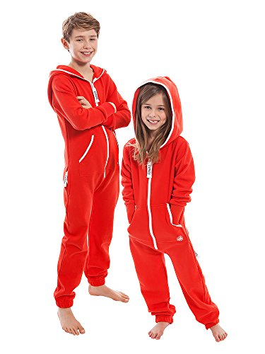ZIPUPS Unisex Jumpsuit Kids Clean Cut Kinder Overall Homewear Outdoor rot 8-9 Jahre