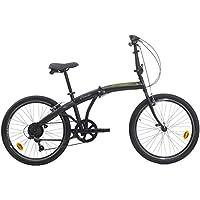 """Ciclo 24"""" Bicicletta Pieghevole CTB 6/V Revo Shift V-Brake Alluminio Nero Opaco Verde"""
