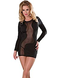 Saphira mode. Minikleid in schwarz Mesh. Transparent. Teddy. Body. String enthalten. Geeignet für die Größen S bis L.