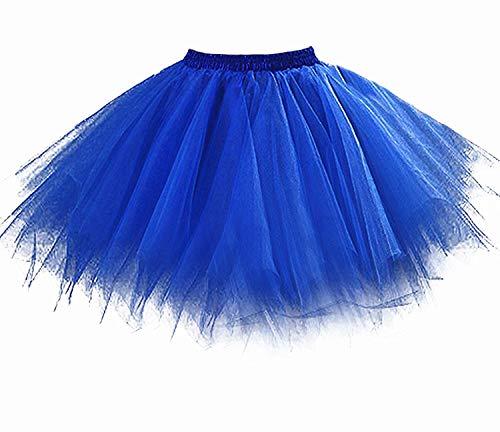 Tutu Damenrock 80er Jahre Neon Tütü Damen Rock Tüllrock Petticoat Pettiskirt 50er Vintage Tutu Kurze Ballet Rock Tanzkleid Unterrock Unterkleid Pink für Frauen Erwachsene 1980s Fancy Dress (Blue) (Erwachsene Tutu Blau Für)