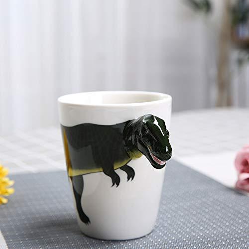 3D Stereo Tier Becher Gemalt Tier Keramik Milchbecher Hohe Temperaturbeständigkeit 10.8 cm * 8.8 cm Dinosaurier A