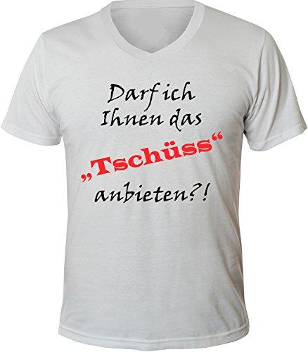 Mister Merchandise Herren Men V-Ausschnitt T-Shirt Darf ich Ihnen das TSCHÜSS anbieten Tee Shirt Neck bedruckt Weiß
