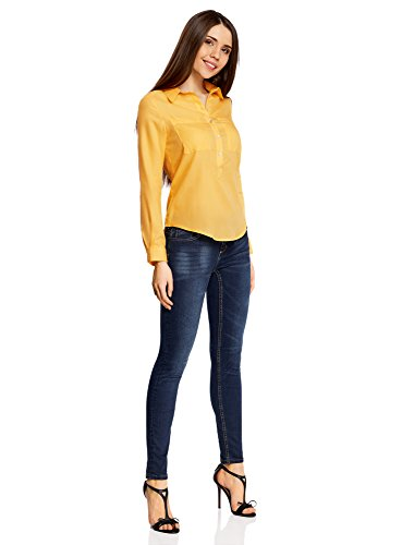 oodji Ultra Damen Lässiges Baumwoll-Hemd Gelb (5200N)
