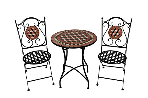 Kingfisher 3 Piece Mosaic Bistro Patio Garden Furniture Set