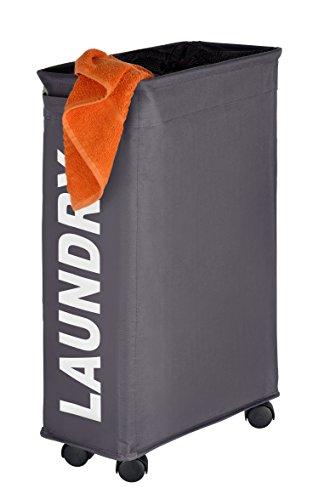comprare on line Wenko 3450115100 Portabiancheria Corno grigio - cesta della biancheria, 43 L, Poliestere, 18.5 x 60 x 40 cm, Grigio scuro prezzo