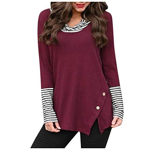 Damen Stricken Pullover Tops Bluse Spleißen Streifen Taste Lange Ärmel Gugel Hals