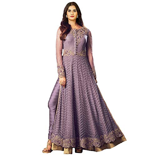 Clothfab Women\'s Net Embroidered Bridal Party Wear Anarkali Salwar Suit Dress Material (Purple Color_Free Size)