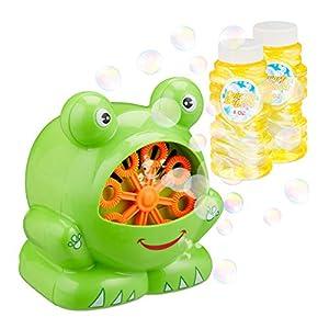 Relaxdays- Máquina Burbujas Rana para Cumpleaños Infantiles, Plástico, Verde, 12 x 10 cm, Color (10024943)