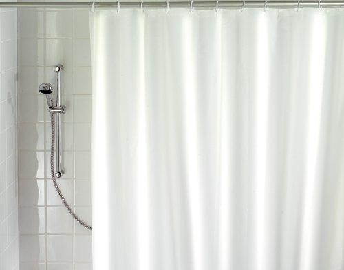 WENKO 19146100 Duschvorhang Uni Weiß - waschbar, mit 12 Duschvorhangringen, 100 {b4d6d406a8d2504a6cce7c32a203500981c3f07570a623724dcf142c817b9d53} Polyester, Weiß