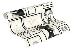 Livingwalls 369181 Metropolitan Stories Lola Paris Tapete mit Bilderrahmen Vliestapete grau schwarz weiß, 10,05 m x 0,53 m