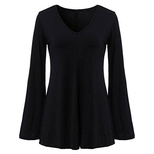 ZANZEA Femme Automne Vrac Corne Manches Sauvage Slim A Balançoire T-shirt Noir