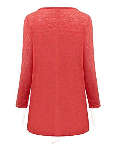 LAEMILIA Femme T-shirt Baggy Casual Sexy Col Rond Manches Longues Hauts Lâche Blouse Irréguliers Tops Rouge