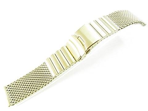 24mm Stainless Steel Mesh Bracelet Watch Band 1220WSL Silver Black 1N14 Gold Rose Gold Titanium (1N14 Gold)