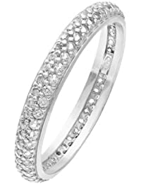 Citerna Rhodium Plated Silver Double Row Clear Cubic Zirconia Full Eternity Ring