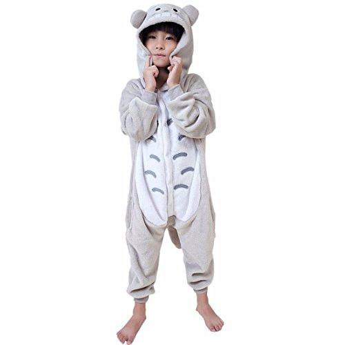 QIYUN.Z Grau Toto Schwanz Karikaturkind Kid Pyjamas Winter Hüfte Reißverschluss Cosplay Nachtwäsche (Toto-kostüm Für Kinder)