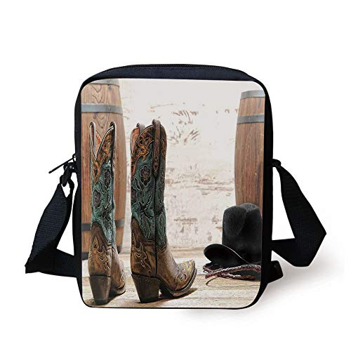 Western Decor,Cutouts with Black Cowboy Hat Infront of a Rustic Barrel and Background Racing Event, Print Kids Crossbody Messenger Bag Purse -