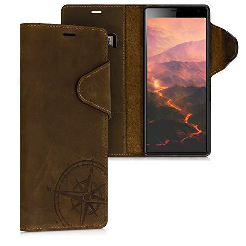 kalibri Sony Xperia 10 Plus Hülle - Leder Handyhülle für Sony Xperia 10 Plus - Handy Wallet Case Cover