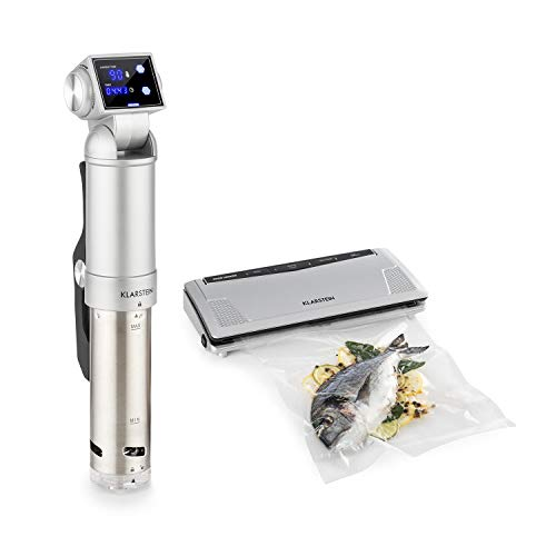 Klarstein Quickstick Pro Foodlocker Silver Set - 2-Teile: Sous Vide Pumpe & Vakuumierer, SousVide: Umwälzpumpe, IPX7, 3D Streamline Heating, 2 Temperatursensoren, 0-90 °C, Edelstahl, silber