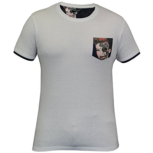 Herren T-Shirt Brave Soul Kurzärmelig USA Amerika Top Mit Rundhals Freizeit Sommer weiß - 149DAVIES