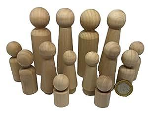 14 familie m nnchen figuren holzfiguren spielfiguren zum for Spielfiguren basteln