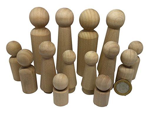 14 Familie Männchen Figuren Holzfiguren Spielfiguren zum Bemalen Basteln Holz Puppen Krippenfiguren Spielfiguren Mann Frau Junge Mädchen Kinder von MEIERLE & Söhne