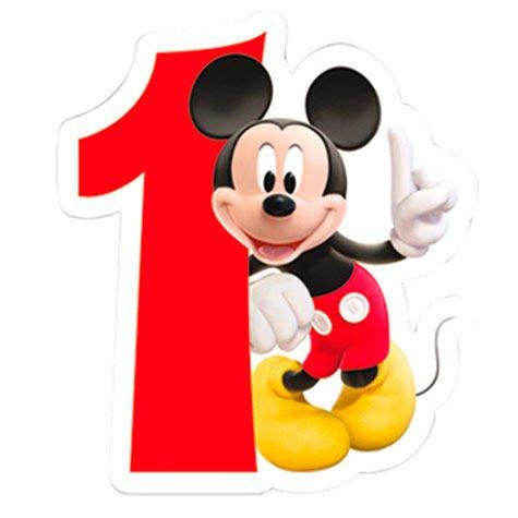 Procos 83149-Vela numerale Mickey Mouse Club House Número 1, Rojo/Blanco
